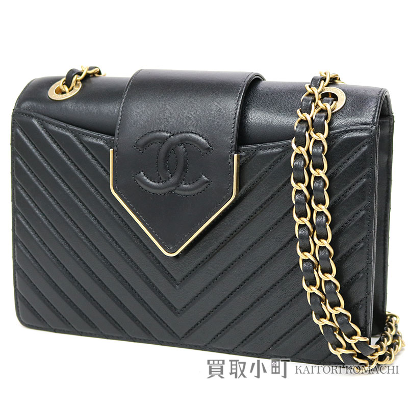 9d6609116941 Take Chanel Chevron flap bag black leather classical music W chain shoulder  bag chain bag matelasse quilting slant   23 A93418 Chevron Flap Bag