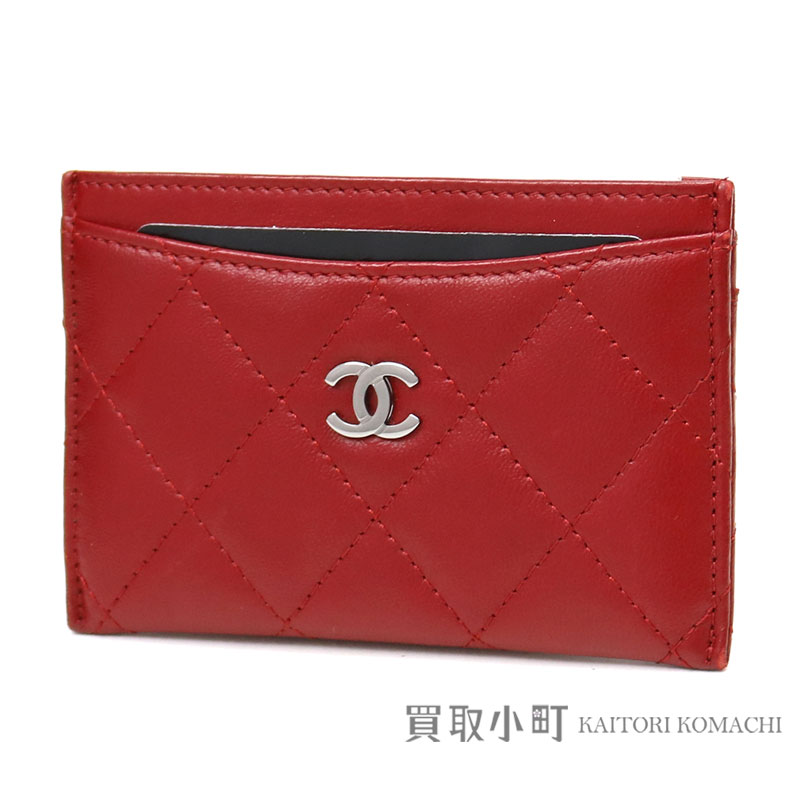 e88797e277a7 KAITORIKOMACHI  Chanel quilting card case red lambskin here mark ...
