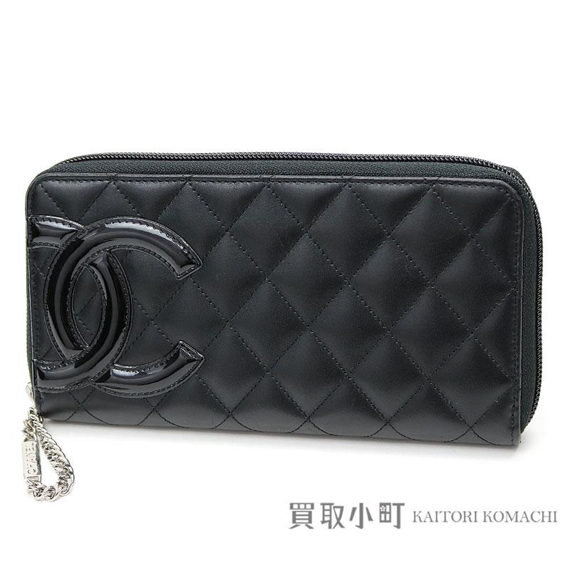 e88a5b602c60 Chanel Cambon line zip around wallet black calfskin enamel CC logo round  fastener long wallet wallet ...