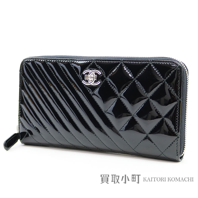 a51b75e2b164 KAITORIKOMACHI: Chanel here boy cross-stitching zip wallet patent leather  black round fastener long wallet classical music matelasse wallet quilting  enamel ...