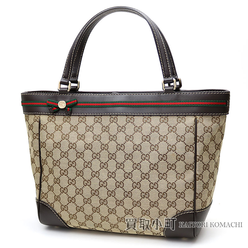071bc57126cd4f Gucci Mayfair bow tie detail tote bag GG canvas X leather beige X dark  brown handbag ...