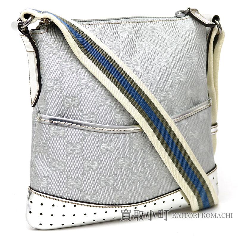 e74dfe04c9b Take Gucci GG canvas mini-shoulder bag silver crossbody bag slant  flat  messenger bag punching leather 147671 GG Canvas Shoulder bag