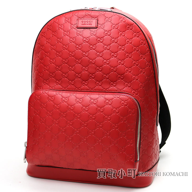 Gucci Gucci signature leather backpack hibiscus red GG type push calfskin  rucksack day pack men Gucci sima 406370 CWCCN 8646 GG Gucci Signature  Leather Back ...
