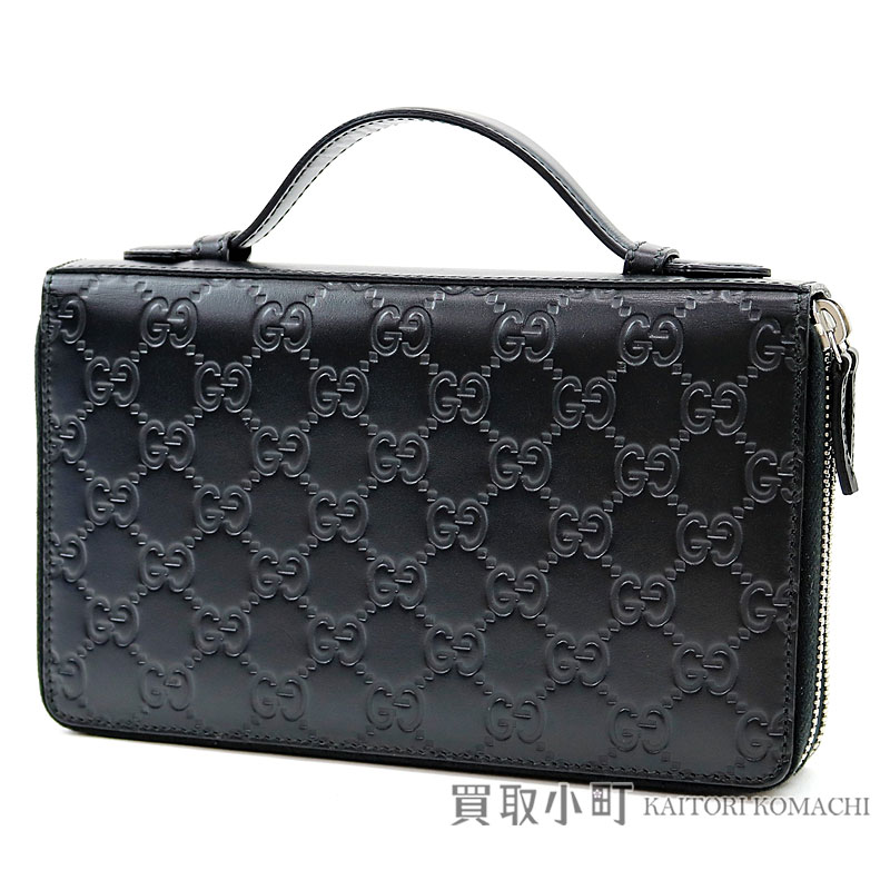 competitive price 2fb49 9275a Gucci Gucci signature leather travel document case zip around wallet black  GG emboss leather round fastener long wallet wallet 395474 CWC1N 1000 GUCCI  ...