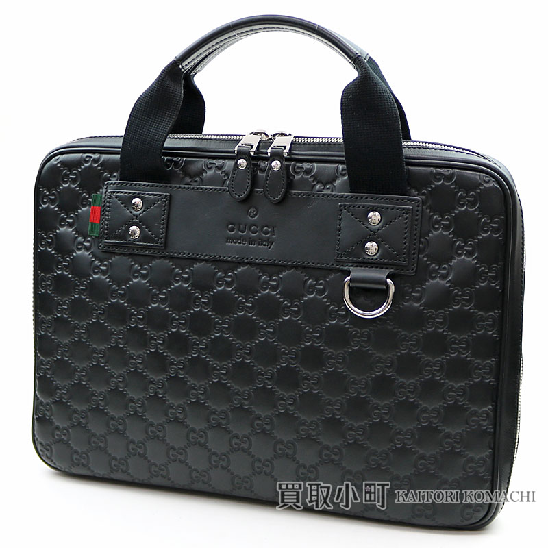 92d8e29ae 281905 グッチグッチッシマラバー PC case black signature Web loop Gucci sima leather  Small briefcase zip