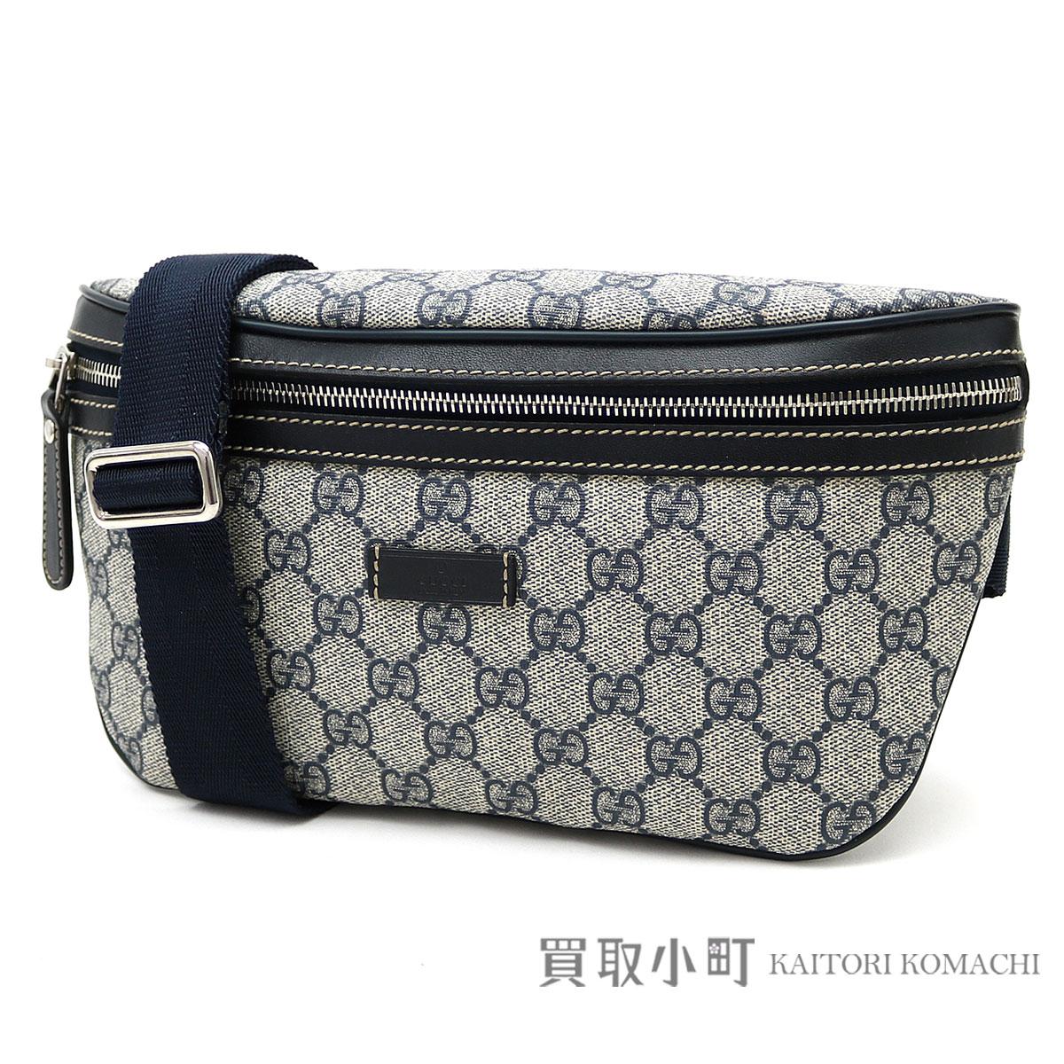 Take Gucci GG スプリームキャンバスベルトバッグネイビーブルーヒップバッグ slant  bum-bag crossbody bag  shoulder bag GG +233 925e2a16b5b47