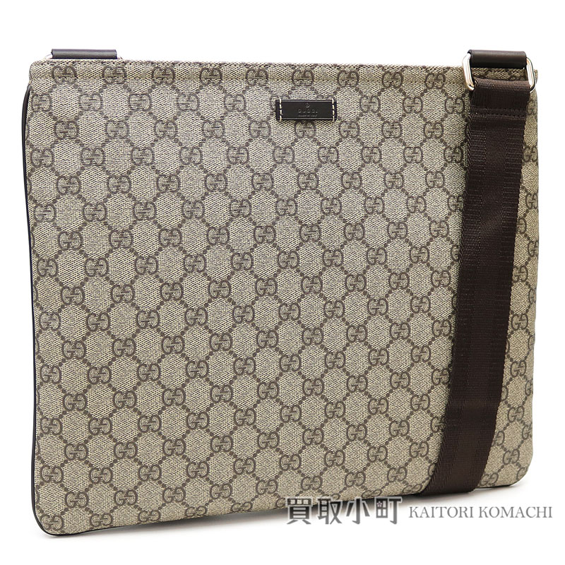 Take Gucci Gg スプリームキャンバスフラットメッセンジャーバッグベージュ X Dark Brown Crossbody Bag Slant Shoulder 201 446 Kgdin 8588 Supreme
