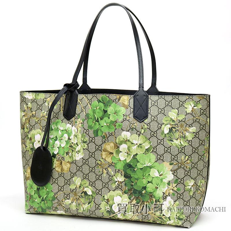 Gucci GG bloom medium reversible GG leather tote bag green bloom black  shoulder bag 368568 GG BLOOMS REVERSIBLE LEATHER TOTE