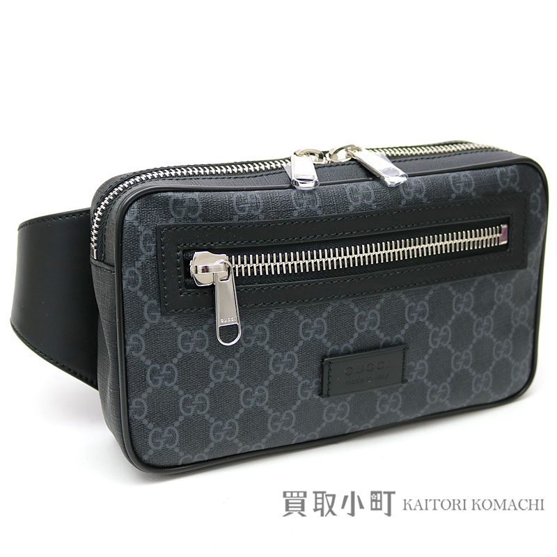 Take Gucci software GG スプリームキャンバスベルトバッグブラック X gray Web hips bag slant  bum-bag  crossbody bag shoulder bag GG +474 6b55ab15e018c