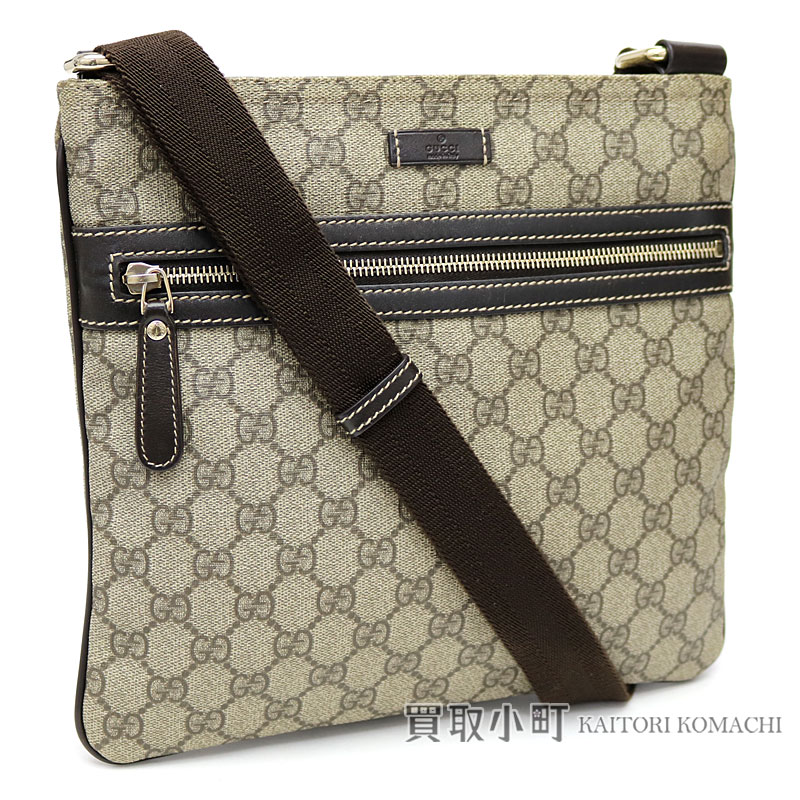 Take Gucci Gg Plus Flat Messenger Bag Beige X Dark Brown Crossbody Slant Shoulder スプリームキャンバス 295257 Kgdig 8588 Supreme Canvas