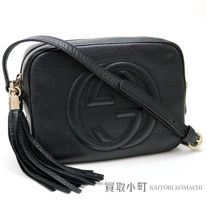 Gucci Soho Black Leather Disco Bag Small Size Tassel Charm Interlocking Grip G Crossbody Shoulder Fringe 308364 A7m0g 1000