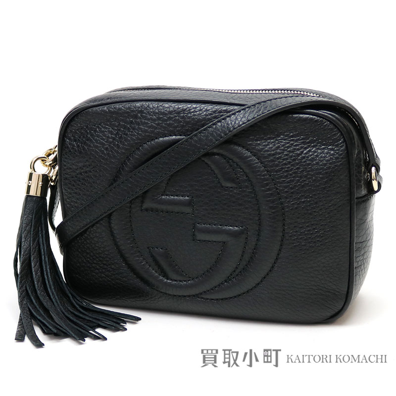 1a484c871176 KAITORIKOMACHI: Gucci Soho black leather disco bag Small size tassel charm  interlocking grip G crossbody shoulder bag fringe 308364 A7M0G 1000 SOHO  LEATHER ...