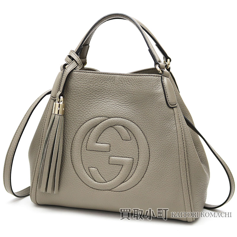 5663a69a094d KAITORIKOMACHI: Take Gucci Soho mini-shoulder bag gray calf-leather tassel  charm interlocking grip G 2WAY tote bag mini-bag slant; fringe 336751 A7M0G  Soho ...