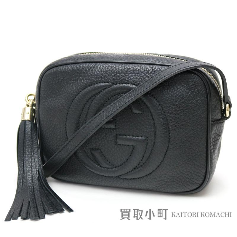 Gucci Soho Black Leather Disco Bag Small Size Tassel Charm Interlocking Grip G Crossbody Shoulder Fringe 308364 A7m0g 1000