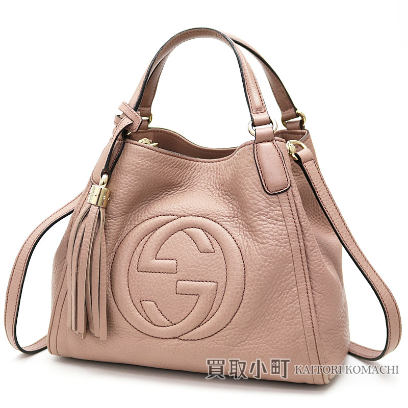 794c61ac7e1 Take Gucci Soho mini-shoulder bag light pink calf-leather tassel charm  interlocking grip G 2WAY tote bag mini-bag slant  fringe 336751 A7M0J 6812  Soho Mini ...