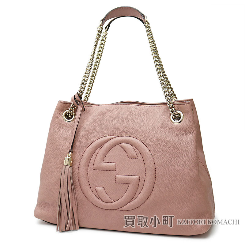 fc4b4e875028 KAITORIKOMACHI: Gucci Soho medium shoulder bag light pink calf-leather  tassel charm interlocking grip G chain shoulder tote bag fringe 308982  A7M0G 6812 ...