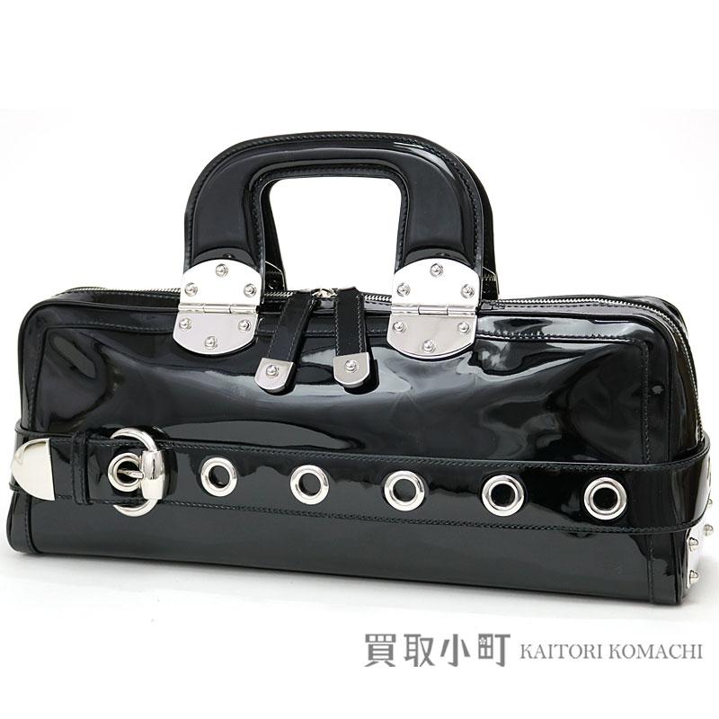 e0d5e56c895 Gucci Boston bag belt motif black patent leather handbag 177100 HAND BAG