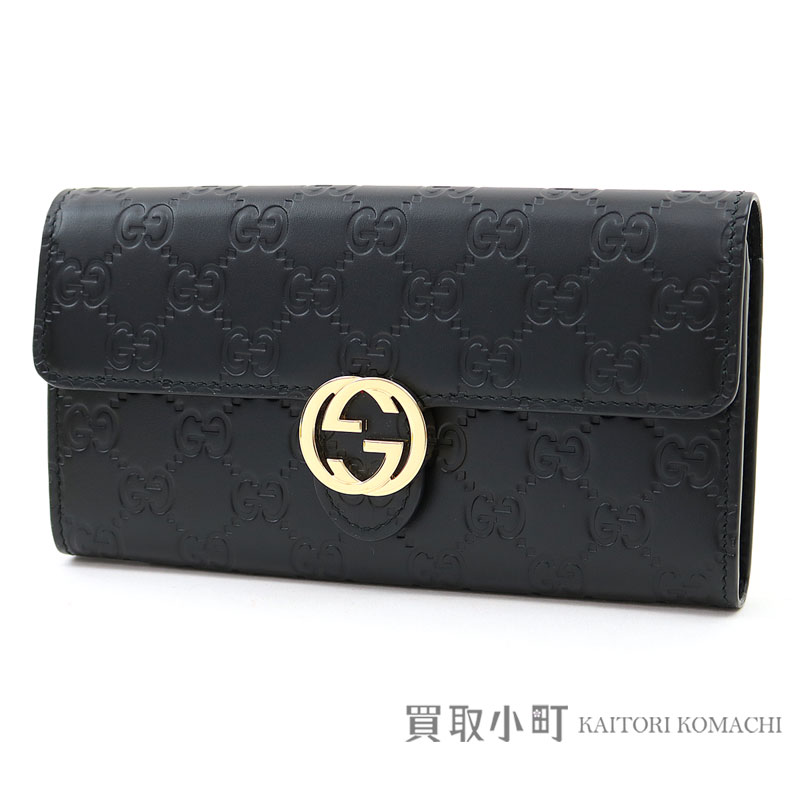 ecde2bb6882 Gucci Gucci icon Gucci signature leather wallet black GG emboss  calf-leather interlocking grip G flap long wallet wallet double G Gucci  sima 369663 CWC1G ...