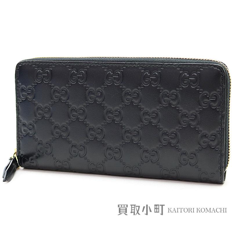 56e91ca1fb8182 KAITORIKOMACHI: Gucci Gucci signature leather zip around wallet black GG  calfskin round fastener long wallet wallet Gucci sima 410102 CWC1G 1000  SIGNATURE ...