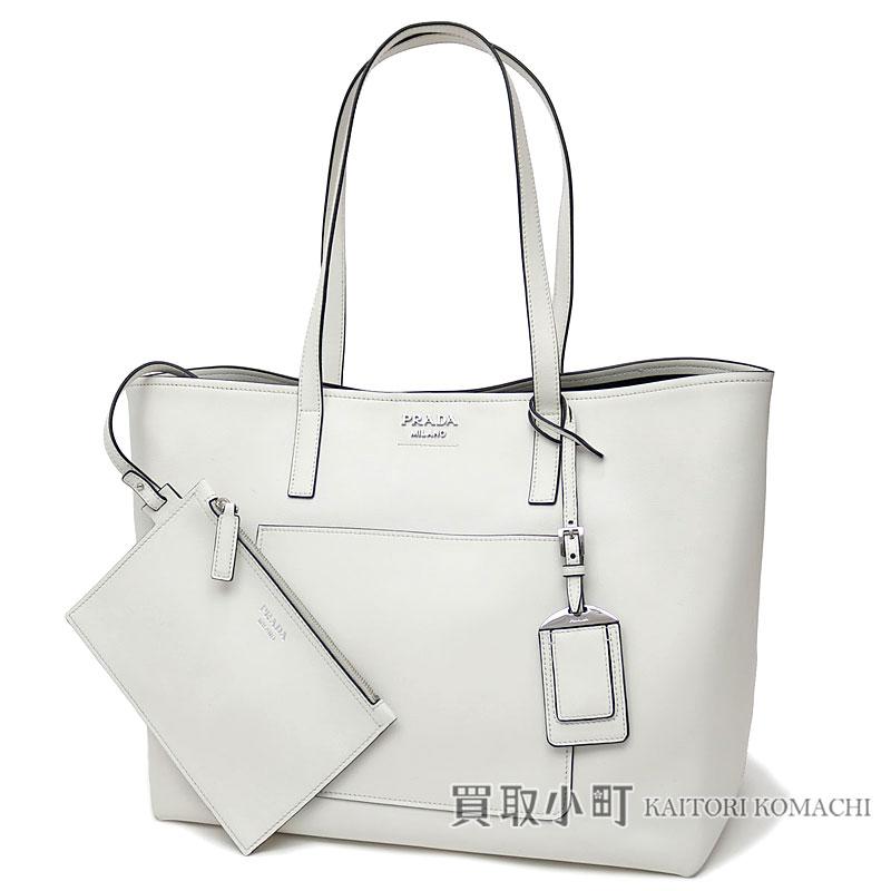 Prada Tote Bag City Calf Metal Logo White Leather Shoulder Handbag 1bg038 2aix F0g3z Bianco Nero