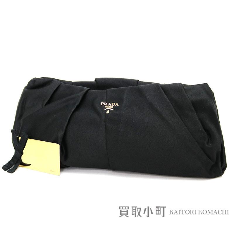 0cf7f79e74ba2f Prada pleats metal logo clutch bag black silk + rayon evening bag porch  BP0051 AC4 F0002 ...