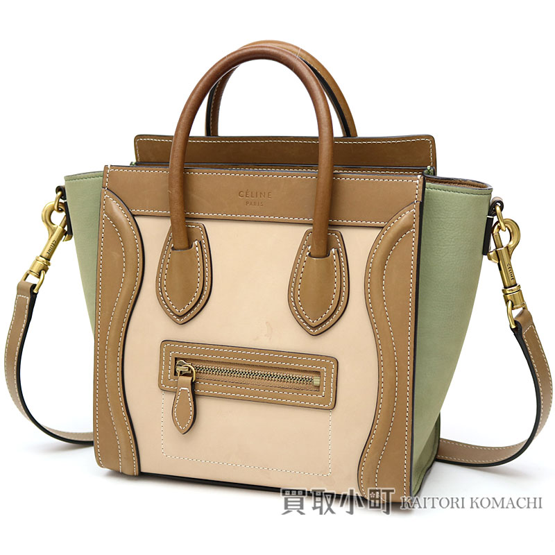 0fc83414ee Take Celine luggage nano calfskin brown tricolor 2WAY shoulder bag handbag  tote bag nano luggage nano shopper slant  168243AO3 15LK LUGGAGE NANO  SHOPPER ...