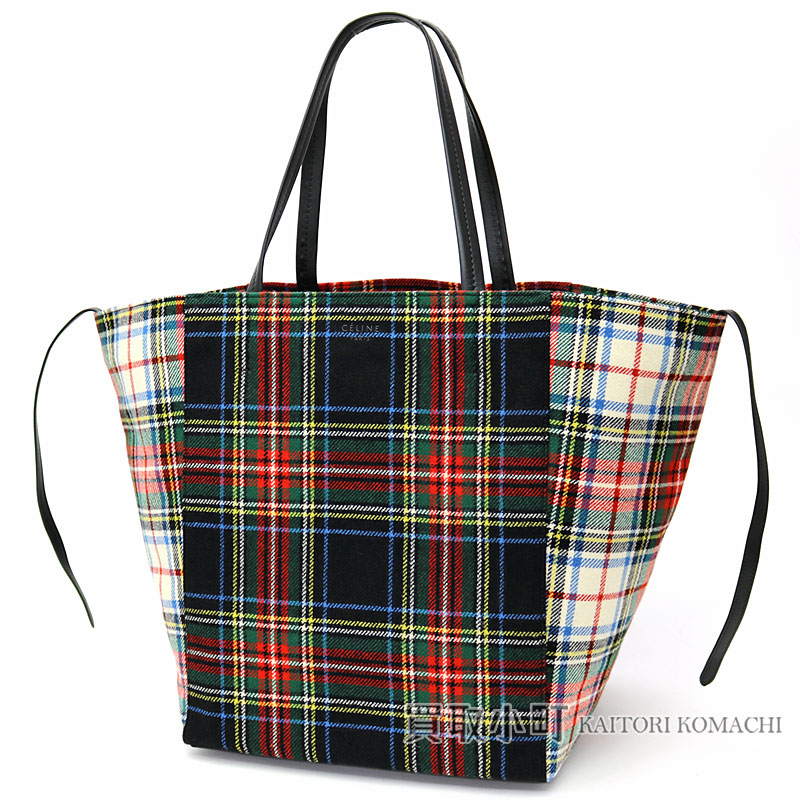 2cd9d2cabf Celine medium hippopotamus phantom tartan felt shopper tote bag red   blue  shoulder carry handbag checked pattern 171052AX1 27EB MEDIUM PHANTOM CABAS  ...