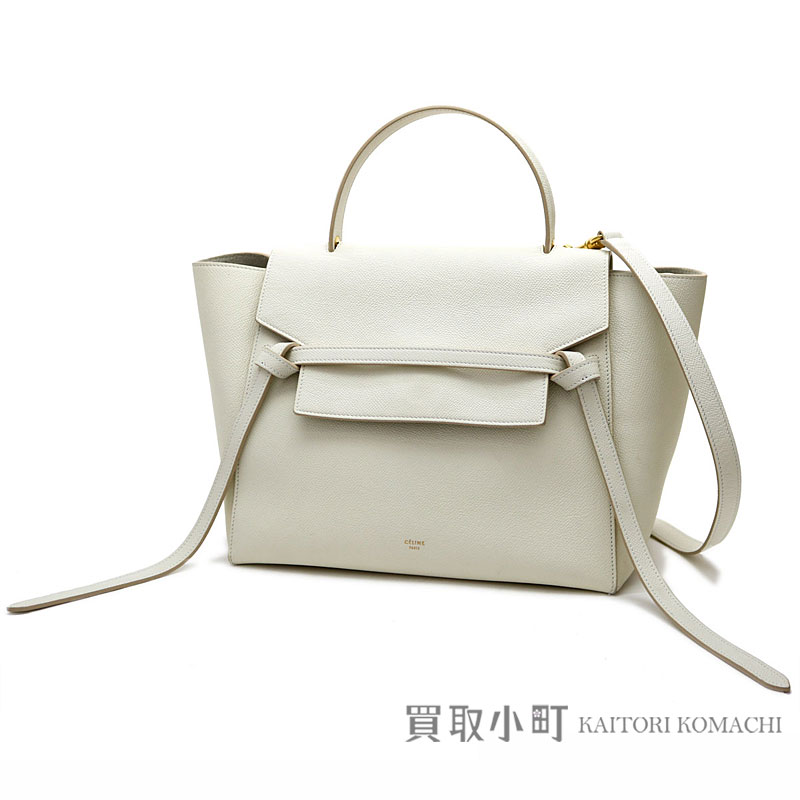 5133112714 Celine belt bag mini-handbag white calfskin 2WAY shoulder bag tote bag  luggage 176103ZVA 01BC BELT BAG MINI HAND BAG