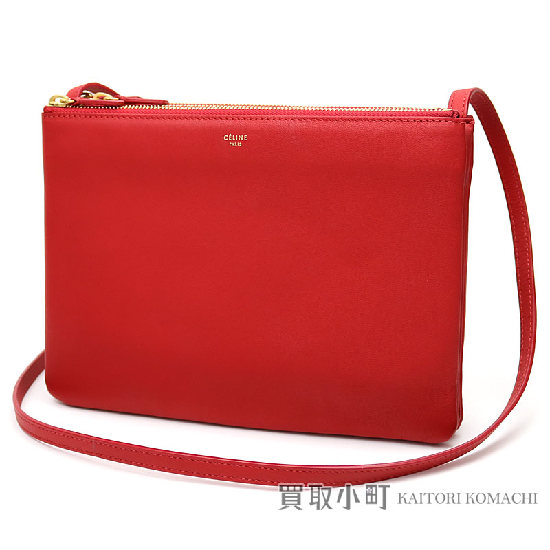 Celine Trio Large Shoulder Bag Red Mousse Lambskin Crossbody Carry Pochette Clutch 171453eta 27ed Smooth