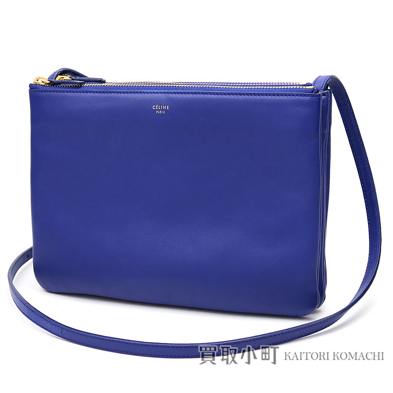 5811f6dea6 Celine trio large shoulder bag blues mousse lambskin crossbody carry  pochette clutch bag 171453ETA LARGE TRIO SMOOTH LAMBSKIN