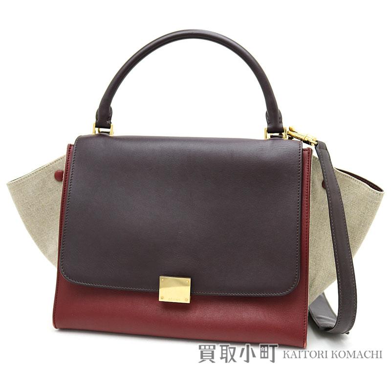 50bcb959d920 Celine trapeze handbag brown X bar Gandhi natural calfskin X linen 2WAY  shoulder bag tote bag luggage 169542 TRAPEZE HAND BAG