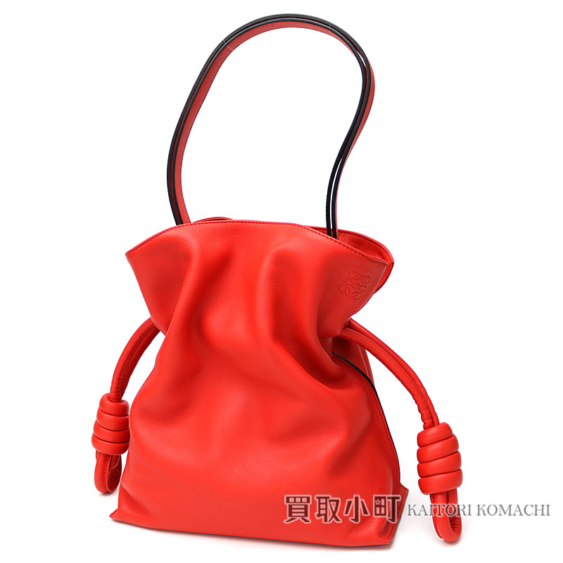 Take Loewe flamenco knot bag primary red classical music calf Ho baud 2WAY  shoulder bag slant