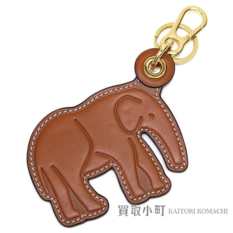 Loewe Elephant Leather Charm Tongue X Navy Blue Calfskin Noah S Ark Motif Animal Bag Key Ring 111 27 121