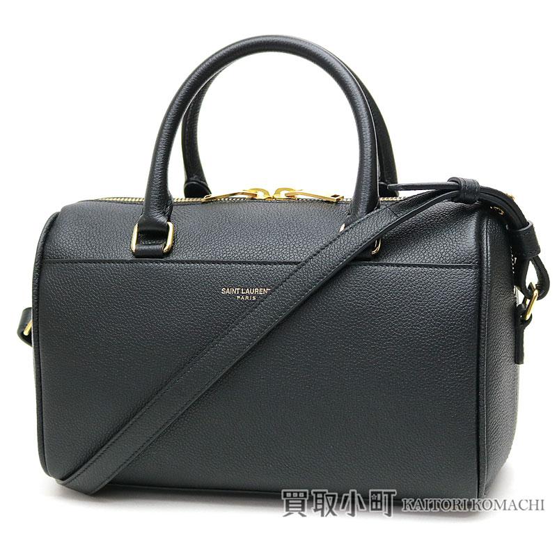 37d083b5b9 Yves Saint-Laurent baby duffel mini-Boston bag black grain leather 2WAY  shoulder bag handbag 330958 B680J 1000 BABY DUFFLE NOIR
