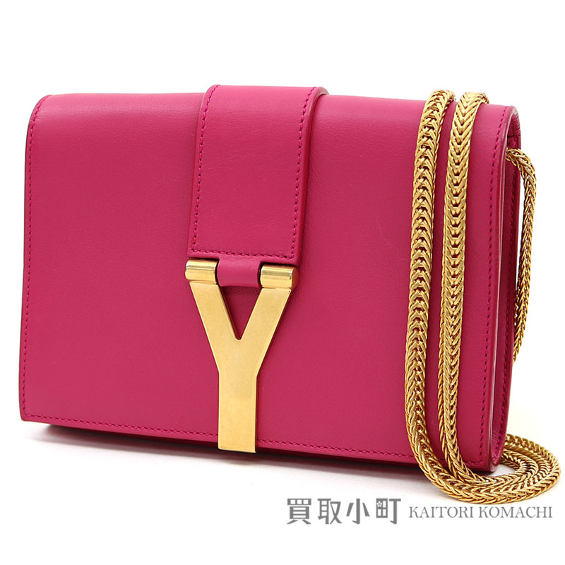 b9f871bc11be Yves Saint-Laurent Paris classical music Y line Satchell Small pink  calfskin chain bag chain shoulder bag pochette 311215 YSL CLASSIC