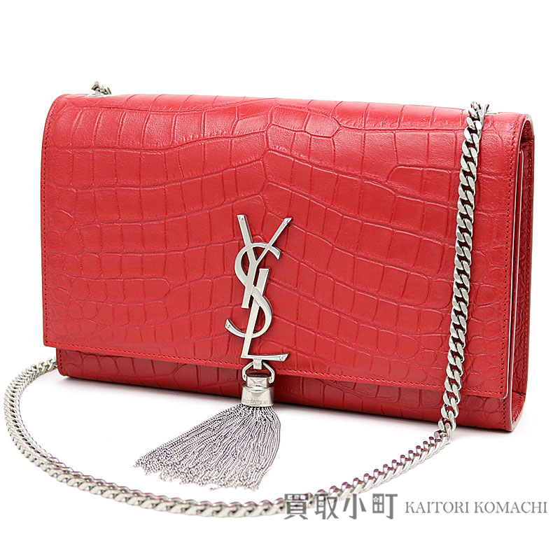 Yves Saint-Laurent classical music Kate monogram Saint-Laurent tassel  Satchell medium red crocodile emboss leather chain shoulder bag 354119  CS30E YSL ... abb2fef55f33a
