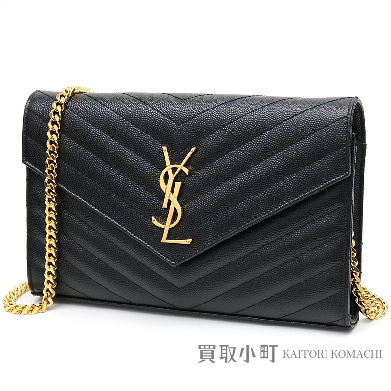 Yves Saint Lau Monogram Chain Wallet Black Grain Powder Structure Quilting Leather Shoulder Bag Pochette 377828 Ysl
