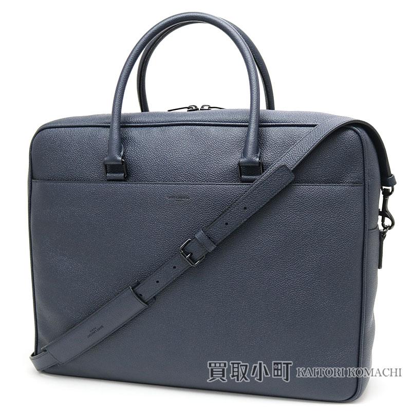 84e0452273 Yves Saint-Laurent classical music briefcase grain leather navy men Small  duffel 2WAY shoulder bag dispatch case business bag 440984 B680U YSL  CLASSIC ...