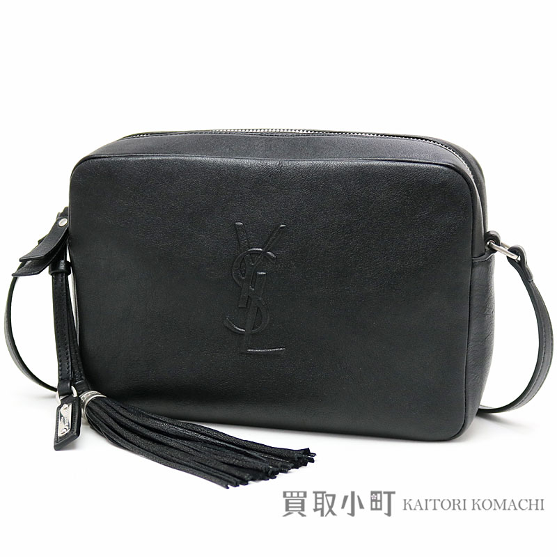 983bbf3ec7 Take Yves Saint-Laurent monogram Saint-Laurent roux camera bag Small black  leather tassel charm shoulder bag pochette slant  YSL logo emboss fringe  470299 ...