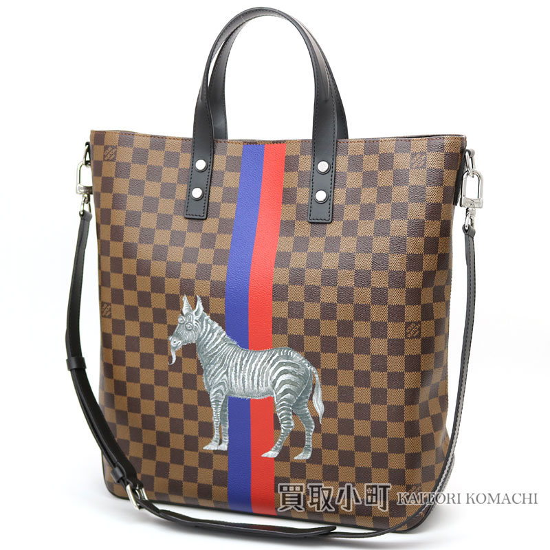 6149633a0ad KAITORIKOMACHI: Louis Vuitton N42702 atlas toe Mie Toda Chapman zebra blue  X red line 2WAY shoulder bag men hippopotamuses zebra LV ATLAS TOTE DAMIER  ...