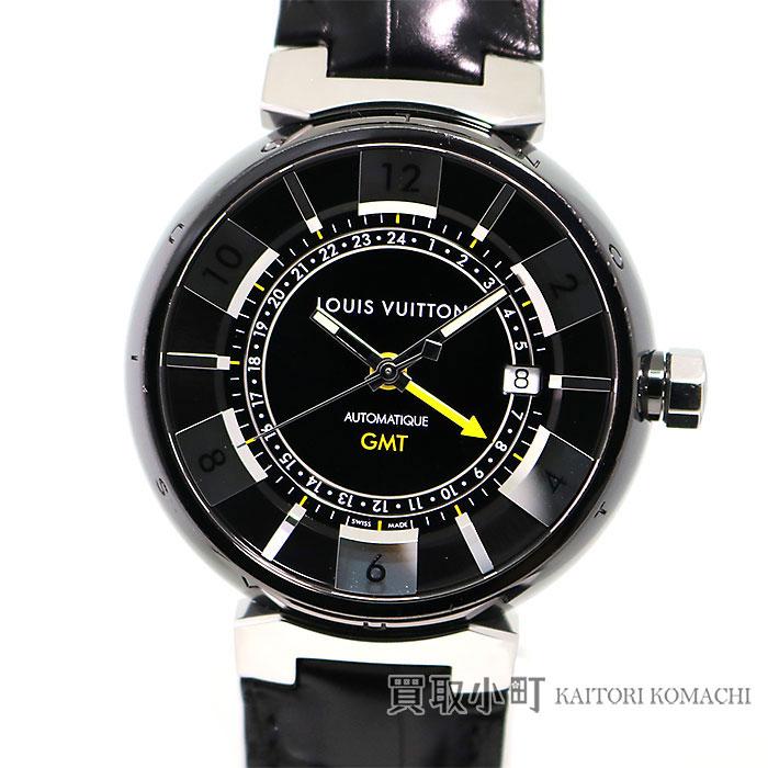 ルイヴィトン 【LOUIS VUITTON】 タンブール インブラック GMT オートマティック アリゲーター 革ベルト メンズウォッチ 男性用腕時計 Q113I0 LV TAMBOUR IN BLACK WATCH【ABランク】【中古】
