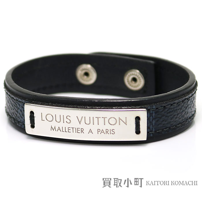 f11fe05b7ce3 Louis Vuitton M6715E ブラスレプレスイットダミエコバルトレザーブレスレット LV logo metal men accessories  LV PRESS IT BRACELET DAMIER COBALT