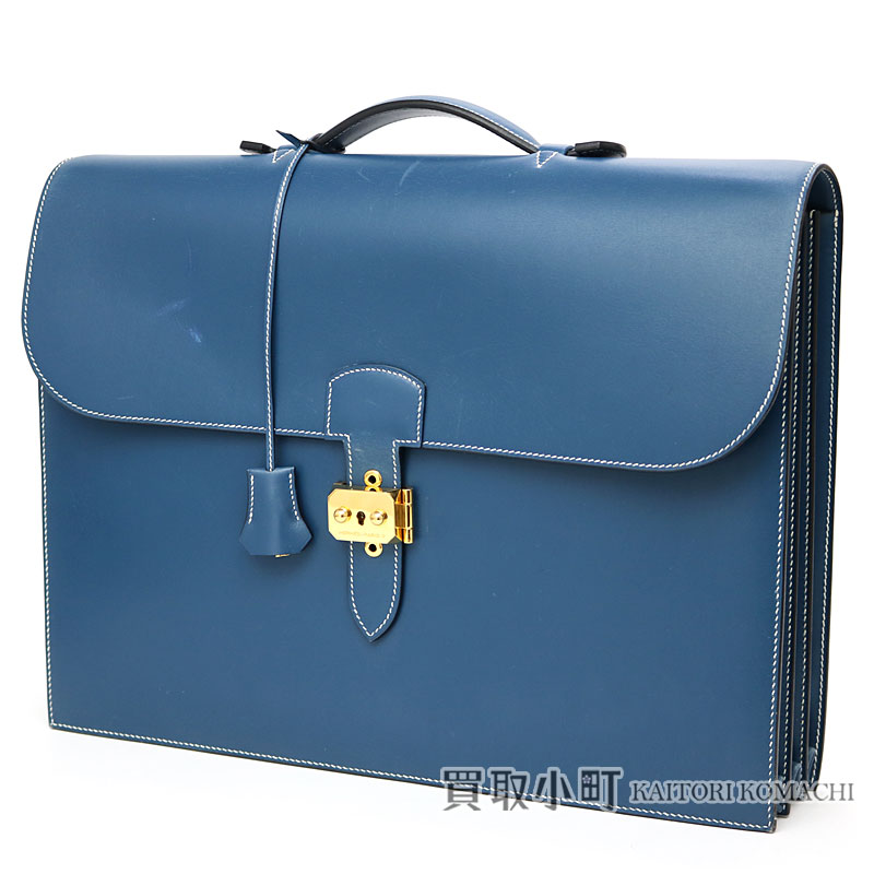 748beb3e602d エルメスサックアデペッシュ 41 bruter Lhasa boxcalf gold metal fittings briefcase  business bag dispatch case men SAC A DEPECHE 41 BRIEFCASE VEAU BOX