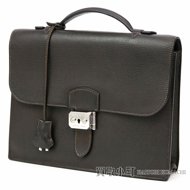 a3d67df0ce42 エルメスサックアデペッシュ 27 ヴァッシュリエジェダークブラウンシルバー metal fittings handbag second bag  briefcase men SAC A DEPECHE 27 BRIEFCASE