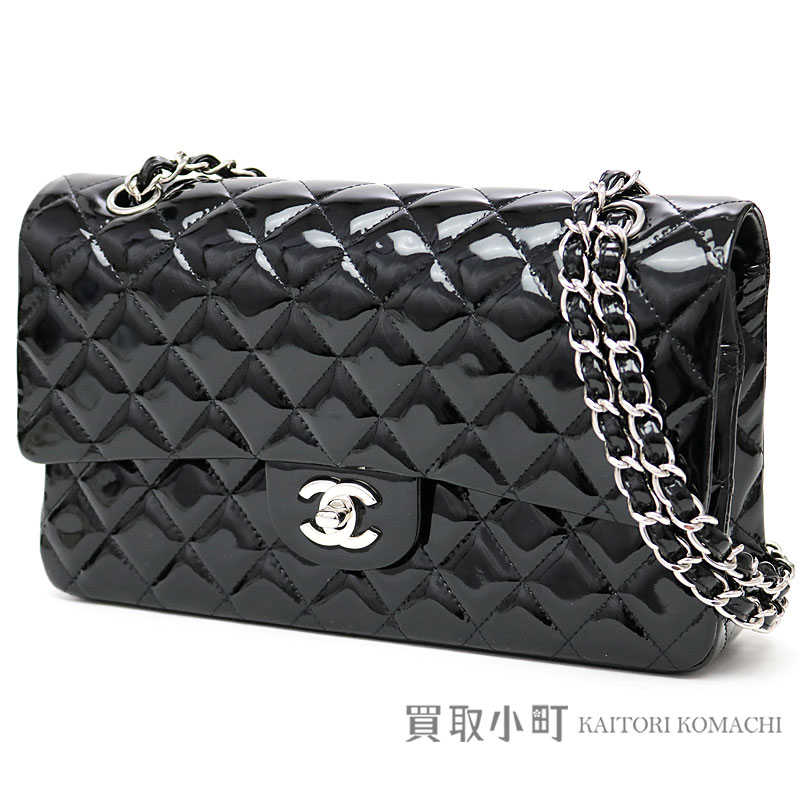 c6e91945be352c KAITORIKOMACHI: Chanel matelasse 25 classic flap bag black patent leather  silver metal fittings medium W chain shoulder bag constant seller チェーンバッグ  ...