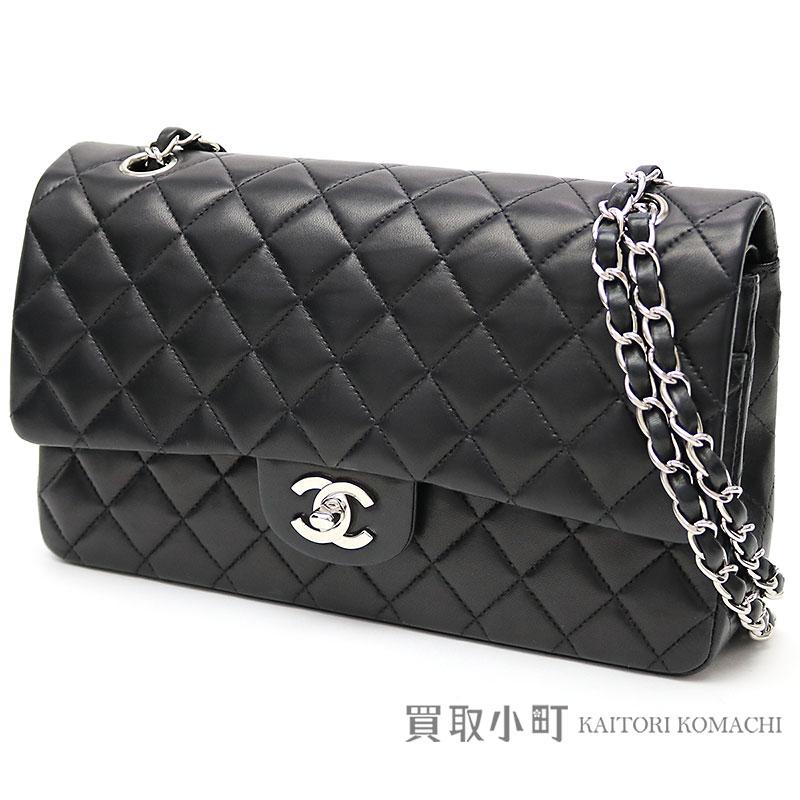 0d73af2e5883 Chanel matelasse 25 classic flap bag black lambskin silver metal fittings  medium W chain shoulder bag constant seller chain bag W フラップココマークツイスト ...