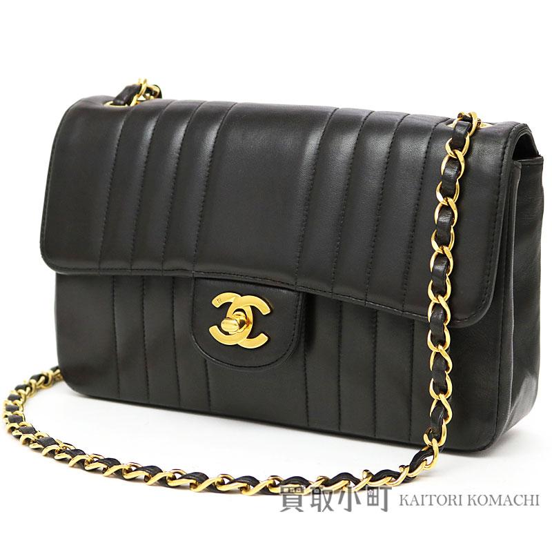 1369dbbf922e Take Chanel chain shoulder bag black lambskin mademoiselle stripe quilting  matelasse stitch here mark twist lock slant  chain bag flap bag classical  music ...