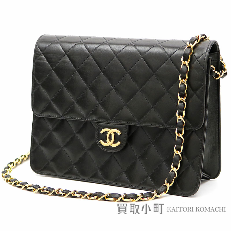 b0217eb58ee5 KAITORIKOMACHI: Chanel matelasse chain shoulder bag black lambskin  classical music here mark flap bag chain bag clutch bag quilting vintage  A03569 #5 ...