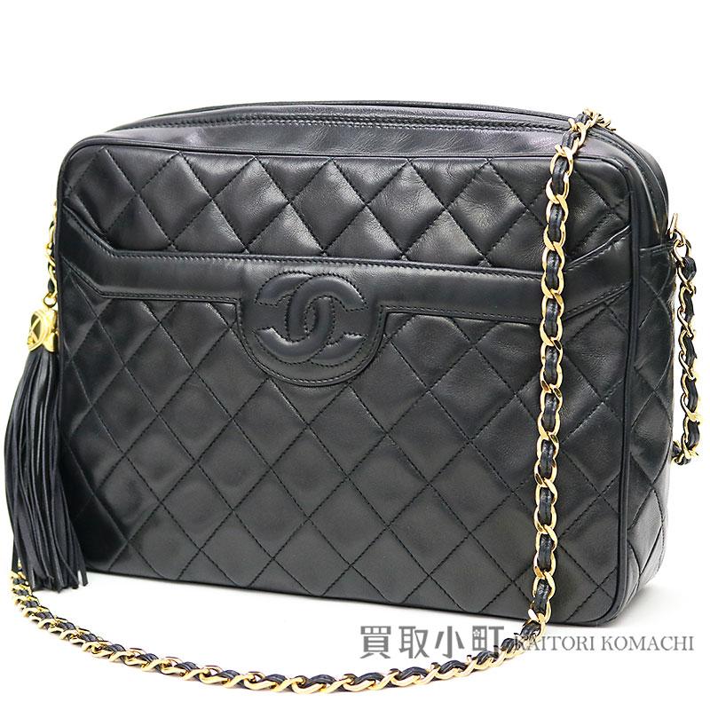 ce3cb1512f5 KAITORIKOMACHI: Chanel matelasse tassel charm chain shoulder bag black  lambskin here mark stitch chain bag fringe black classical music vintage  #02 A01287 ...