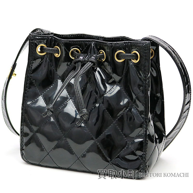 ddd3e946a868 KAITORIKOMACHI: Chanel matelasse draw string shoulder bag black patent  leather classical music here mark twist lock motif quilting vintage  drawstring purse ...